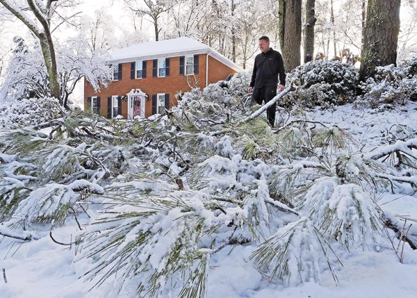 Tom Virgili surveys the damage from broken limbs of pine trees after a heavy snow fall, Saturday in Kennesaw, Ga. The frigid temperatures behind a cold front combined with moisture off the Gulf of Mexico to bring wintry weather to parts of the South.  AP
