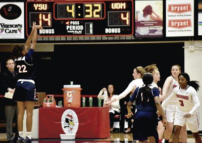 Tribune Chronicle / Marc Weems Detroit Mercy's Zoey Oatis, left, takes a shot during its game against Youngstown State on Thursday.