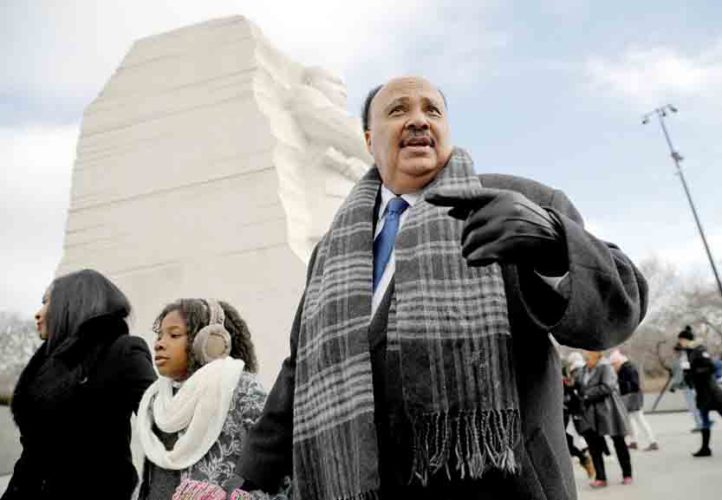 AP Martin Luther King III, right, with his wife Arndrea Waters, left, and their daughter Yolanda, 9, center, visits the Martin Luther King Jr. Memorial on the National Mall in Washington, Monday. The son of the late U.S. civil rights activist Martin Luther King Jr. and his family had earlier participated in an event commemorating the life and legacy of his father.