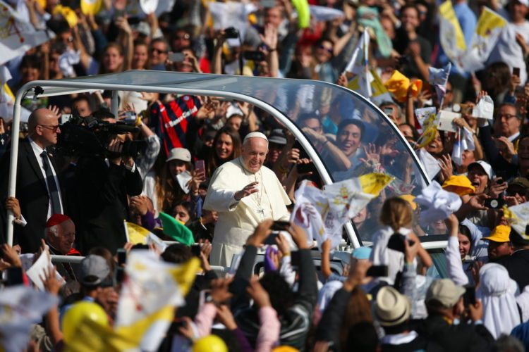 Pope Francis arrives to celebrate Mass at O'Higgins Park in Santiago, Chile, Tuesday, Jan. 16, 2018. (AP Photo/Natacha Pisarenko)
