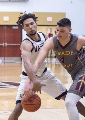 Special to Tribune Chronicle / Dianna Oatridge Warren G. Harding's Tyre Marlowe battles with Mattia Acunzo of  Kennedy Christian Wednesday at Harding.