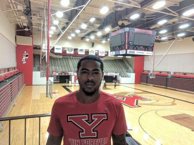 Tribune Chronicle / John Vargo Youngstown State University point guard Devin Morgan, a transfer from Delaware State, is waiting to showcase his talents next season for the Penguins. Morgan has to sit out this year due to NCAA transfer rules and has two more years of eligibility.