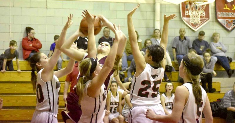 Tribune Chronicle / Marc Weems Mathews (from left) Cara Bornemiss, Ashley Deans, Emma Smailey and Carlie Pratt surround Pymatuning Valley's Paige Sloan during Monday's game at Mathews High School. The Lakers defeated the Mustangs in this Northeastern Athletic Conference battle, 64-37.