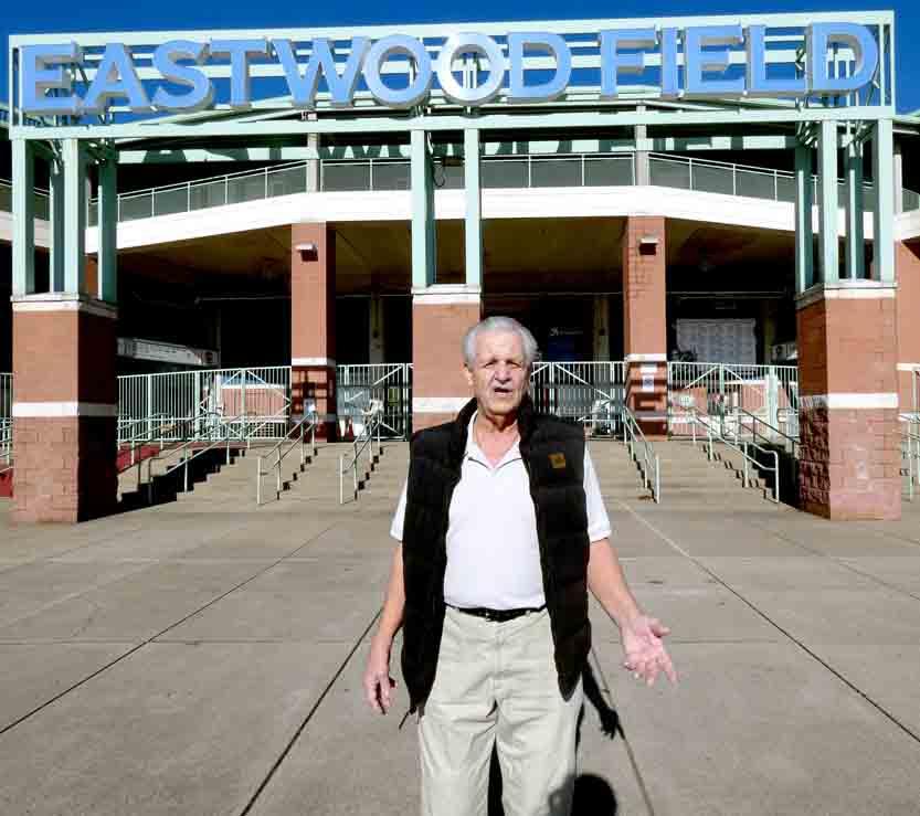 Tribune Chronicle / Jon Wysochanski Councilman Barry Profato stands outside Eastwood Field in Niles. The tadium is the focus of economic development efforts in Niles.
