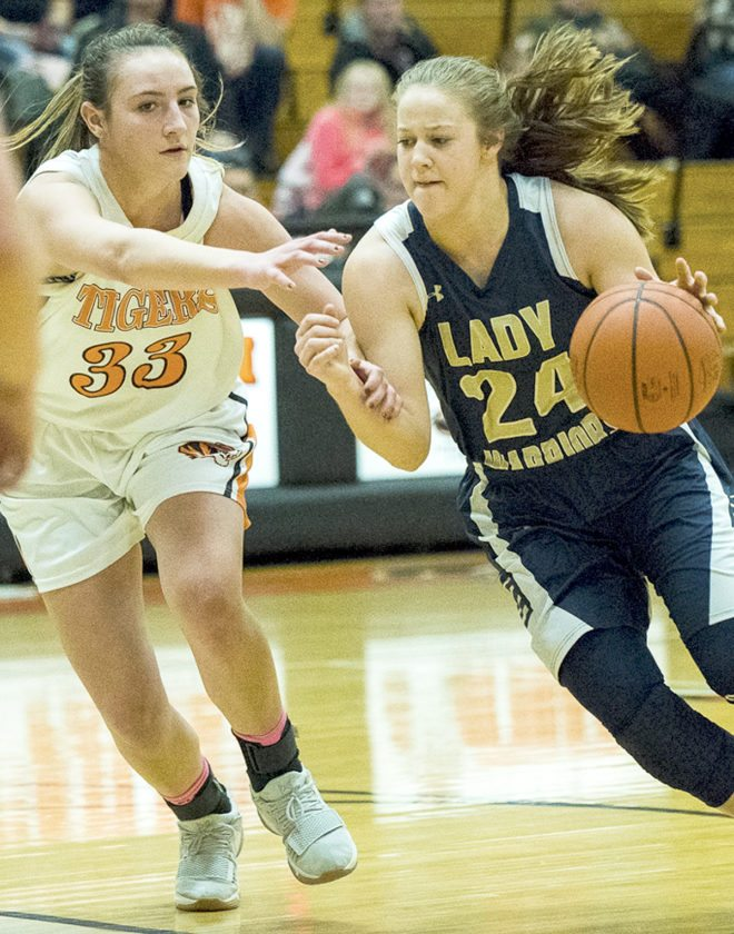 Special to Tribune Chronicle / Dianna Oatridge Bailey Drapola (24) of Brookfield drives against Izzy Kline (33) of Newton Falls Saturday in the Warriors' win.