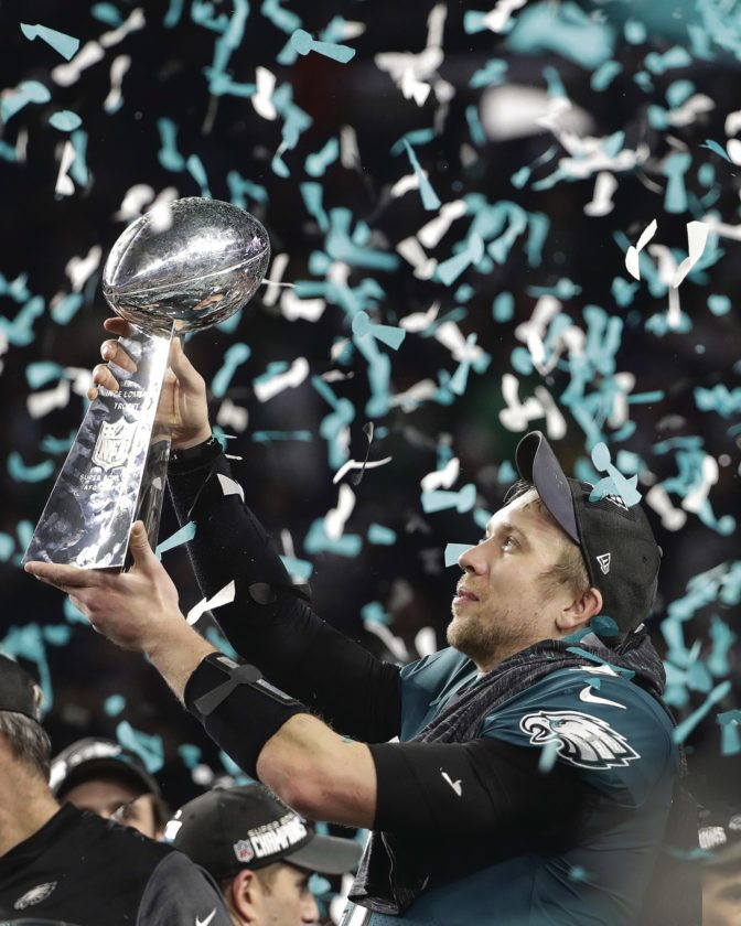 AP Philadelphia Eagles Nick Foles Holds Up The Vince Lombardi Trophy After Beating New England Patriots In Super Bowl 52 Sunday Minneapolis