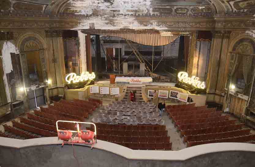 Tribune Chronicle / R. Michael Semple A two-year renovation project is underway at the Robins Theatre, a downtown Warren theater that has been empty since the mid-1970s.