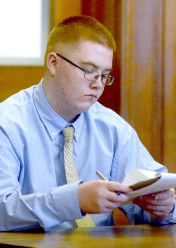 Jacob LaRosa of Niles takes notes Monday during jury selection in his murder and attempted rape trial before Trumbull County Common Pleas Court Judge W. Wyatt McKay. LaRosa, 18, is accused of beating to death Marie Belcastro of Niles in her home March 31, 2015. Attorneys are expected to finish quizzing potential jurors today. Tribune Chronicle / R. Michael Semple
