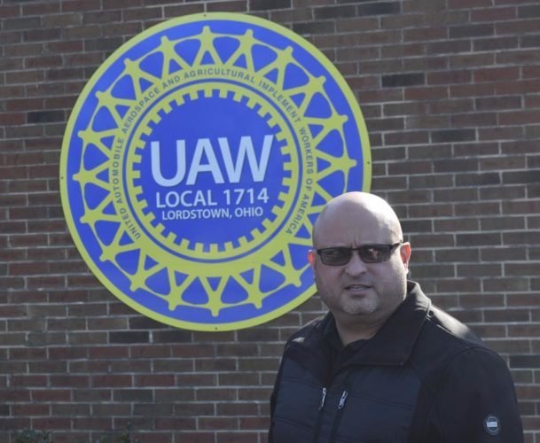 Tribune Chronicle / Liam Bouquet Robert Morales, president of the United Auto Workers Local 1714, which represented workers at the General Motors Lordstown fabrication plant, stands outside the union hall. The local no longer exists because last year, it merged with UAW Local 1112, which represents the assembly plant workers.