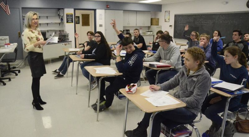 Tribune Chronicle / R. Michael Semple Maplewood High School upper level math teacher Lana Stechschulte, far left, teaches class at Maplewood High School. She said the district continuously receives high marks on the state report cards because teachers set high expectations for students.