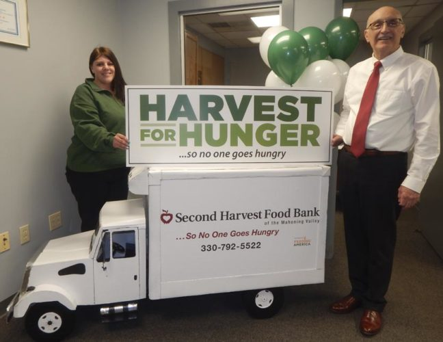 Tribune Chronicle / Bob Coupland Second Harvest Food Bank has kicked off its 27th annual Harvest for Hunger campaign, which will take place in March and April. Food items and money raised helps local food pantries and schools. From left are Becky Miller, resource / development manager, and Michael Iberis, executive director.