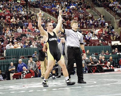 Tribune Chronicle file photo / Joe Simon In this March 11, 2017 photo, Canfield's David Crawford has his hand raised after winning the Division II 170-pound state title. Crawford is aiming for a second crown as a senior. The sectional tournament begins Saturday.