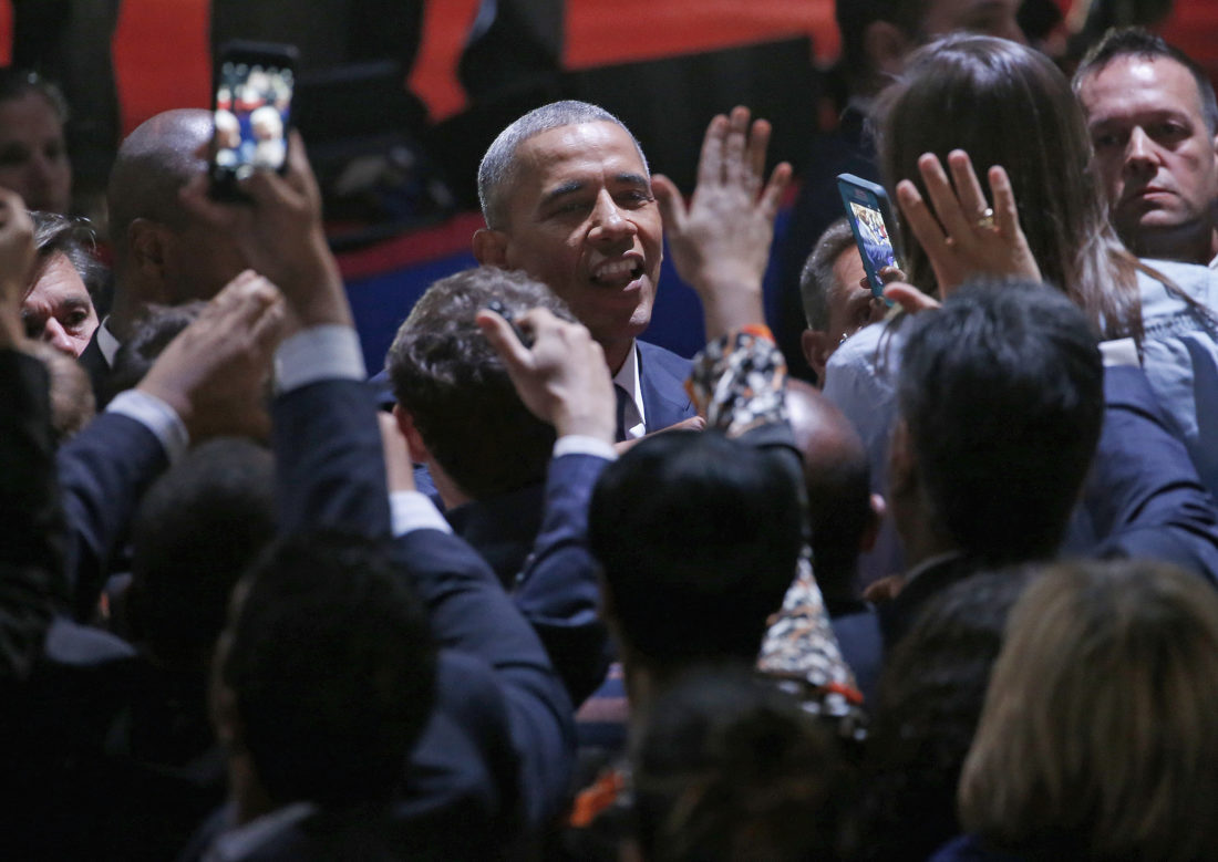 FAREWELL — President Barack Obama talks to his supporters after giving his presidential farewell address at McCormick Place in Chicago Tuesday. -- Associated Press