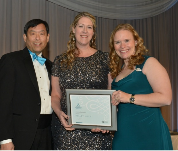 As Ohio's School Counselor of the Year, Brooke County native Kelley Richardson Mills, center, was recognized with other state counselors of the year by former first lady Michelle Obama at the White House on Jan. 6. Joining in honoring the school counselors were Richard Wong, president of the American School Counselor Association; and Julie Baumgart, who chairs the organization's board of directors. — Contributed