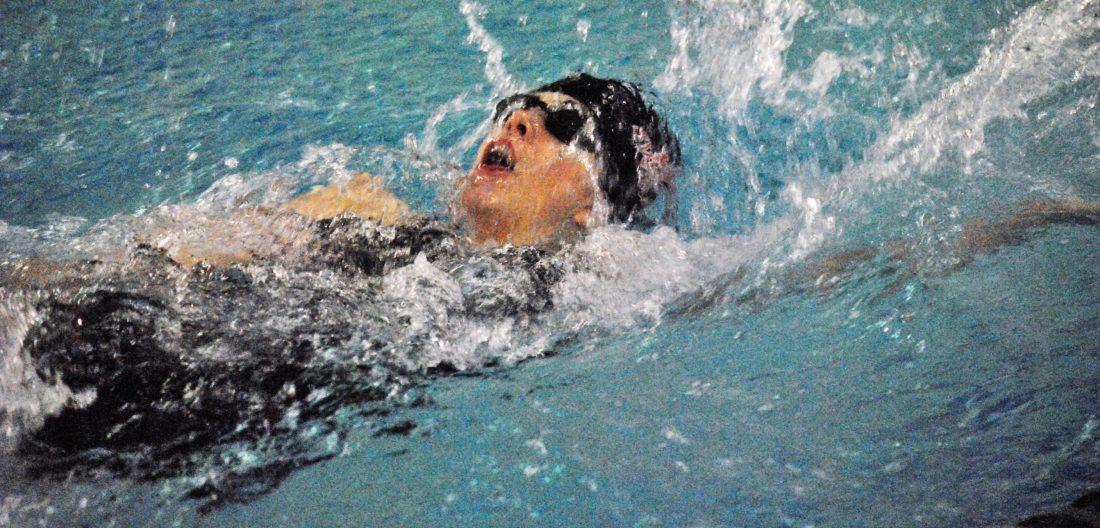 Weir High's Katelyn Haspel swims the backstroke (Matthew Peaslee).