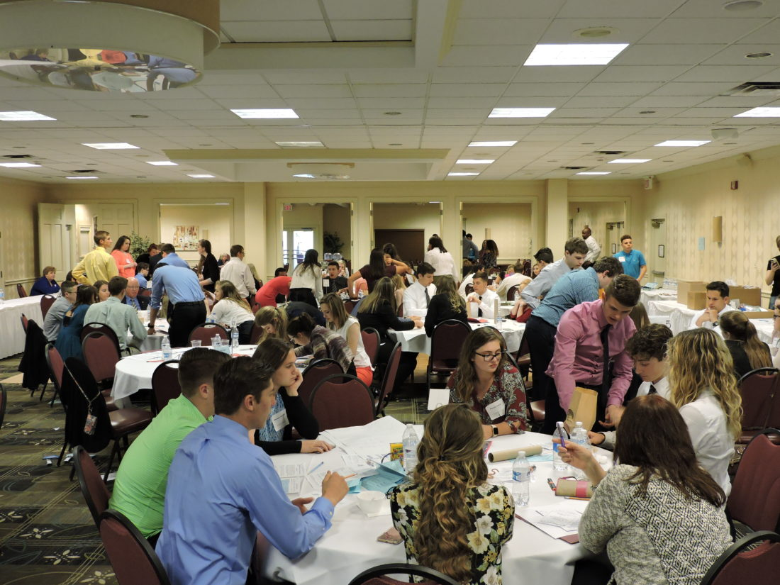LEARNING BUSINESS — Nearly 120 area high school juniors got a taste of the business world Wednesday as part of the annual Dr. Barbara A. Matey High School Business Symposium, organized by the Weirton Area Chamber of Commerce. -- Craig Howell
