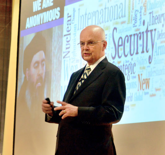WORLD EXPERIENCE — Retired Air Force Gen. Michael Hayden, former director of the National Security and Central Intelligence agencies, spoke Thursday evening at Catholic Central High School during the Trinity Health System Presents the Herald-Star Speaker Series.  -- Michael D. McElwain