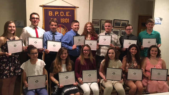 Weirton Elks Lodge presented certificates to the Junior Teens of the Month to, from left, front, Kailey Alexia Karas, Lexi Elaine Reinhardt, Brooklyn Nichole Loveland, Hailee Marie Stevens, Sydney Elise Martinez and Jessica Rhena Duty, and, back, Nicole Lynn Gearhart, Turner J. Lehman, Colton Douglas Whyte, Nicholas R. Rawson, Rory Saige McNutt, Garret James Wright, Ethan Hurl and Jacob Clark. Alexis Lee Holden also was selected. Colton Whyte and Sydney Martinez were also selected as Junior Teens of the Year. — Contributed