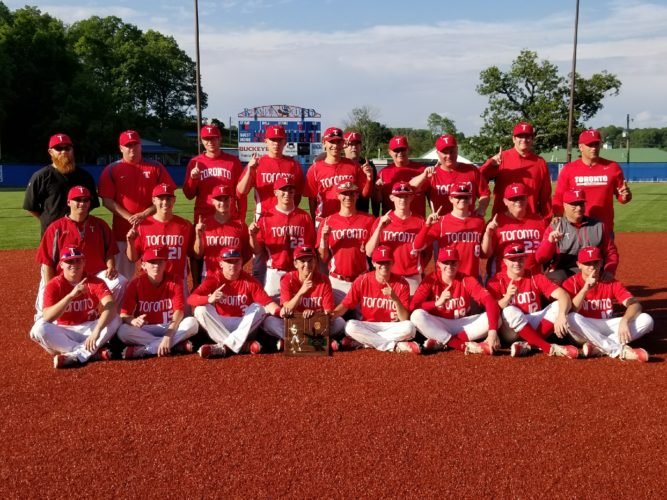 TOPS IN REGION — The Toronto Red Knights are heading back to Columbus for the Ohio Division IV state baseball tournament following an 11-1 victory over Waterford Friday in Lancaster. - Rick Thorp