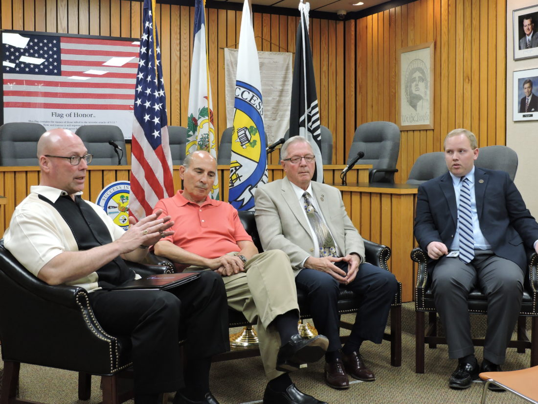 FIORENTINI GROUNDBREAKING PLANNED — Officials with the Business Development Corp. of the Northern Panhandle and the City of Weirton came together Tuesday to announce a June 9 groundbreaking for the new Pietro Fiorentini facility to be located in Weirton. Making the announcement at the Weirton Municipal Building are, from left, BDC Executive Director Pat Ford, BDC Board Chair Bill D'Alesio, Mayor Harold Miller and City Manager Travis Blosser.  -- Craig Howell