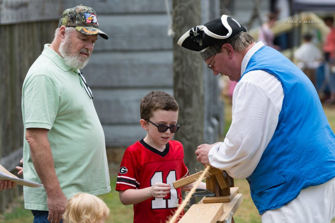 LEARNING HOW TO MAKE ROPE — Youngsters try their hand at making rope at last year's Ohio Valley Frontier Days held at Historic Fort Steuben. -- Contributed