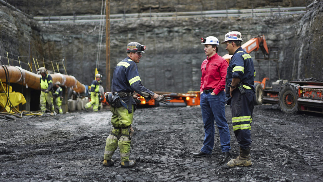 BIG JOB COMES BACK — Corsa CEO George Dethlefsen, in red, speaks to workers at a new Corsa coal mine in Friedens, Pa., June 7. The world's biggest coal users — China, the United States and India — have boosted coal mining in 2017, in an abrupt departure from last year's record global decline for the heavily polluting fuel and a setback to efforts to rein in climate change emissions. -- Associated Press
