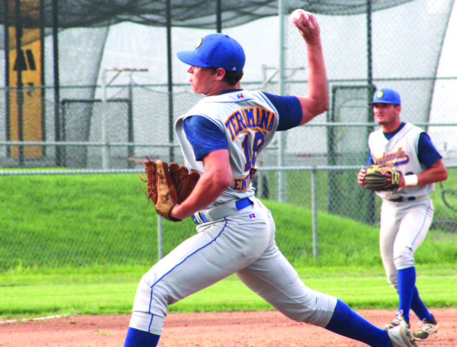 STATE OF POST 33 — Steubenville Post 33's Matt Bell pitches against Weirton Post 10 while third baseman Johnny Agresta watches earlier this season. Post 33 begins its state run at 10 a.m. Wednesday. (Photo by Joe Catullo)