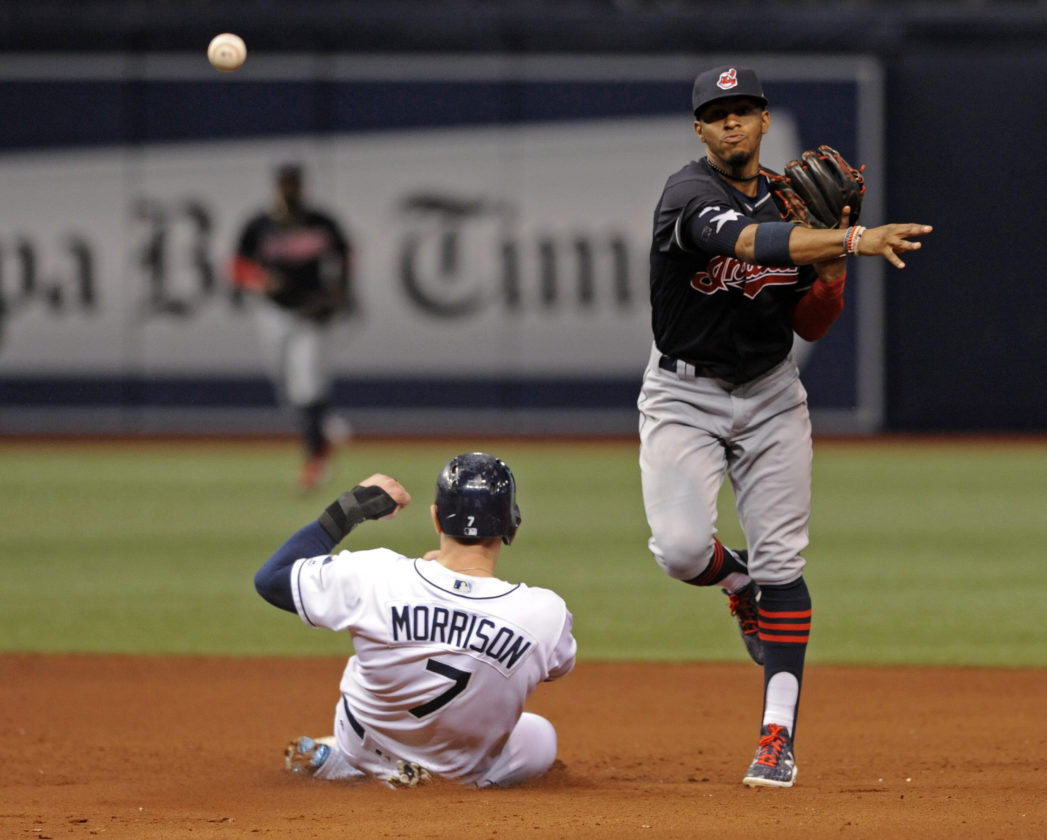 Cleveland Indians shortstop Francisco Lindor, right, throws to first base to complete a double play on Brad Miller after forcing out Tampa Bay Rays' Logan Morrison (7) during the fifth inning of a baseball game Thursday, Aug. 10, 2017, in St. Petersburg, Fla. (AP Photo/Steve Nesius)