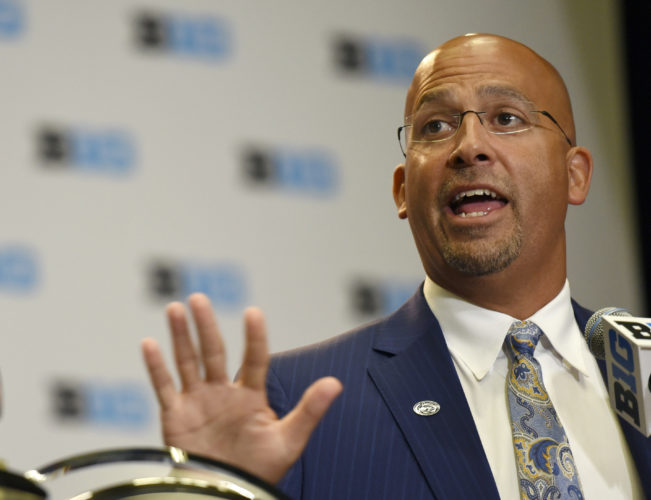 FILE - In this July 25, 2017 photo, Penn State head coach James Franklin speaks at the Big Ten conference NCAA college football media day in Chicago. Franklin has signed a contract extension that guarantees him $34.7 million through 2022, the school announced Friday, Aug. 18, 2017. (AP Photo/G-Jun Yam, File)