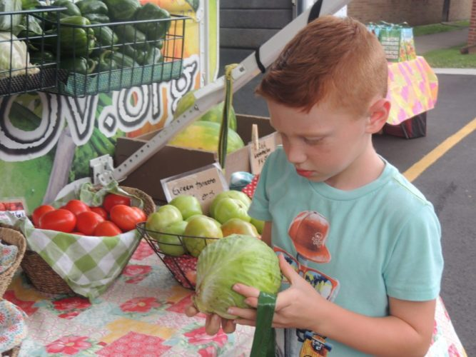FARMER'S MARKET — Washington Lands Elementary School student Caysen Morris picks produce from a Grow Ohio Valley pop-up market in Glen Dale. -- Drew Parker