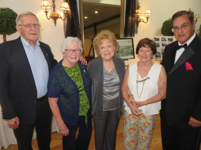 ANNUAL EVENT — The Jefferson County Historical Association held its annual dinner meeting Wednesday evening at St. Florian Hall where among those on hand were, from left, Charlie Green, second vice president; guest speaker Shirley Brooks-Jones, who recounted her experience on Sept. 11, 2001; Eleanor Naylor, first vice president; Judy Brancazio, president; and Barry Bardone, board member and master of ceremonies. Dennis Milko is treasurer and Mike Giles, board secretary.-- Janice Kiaski