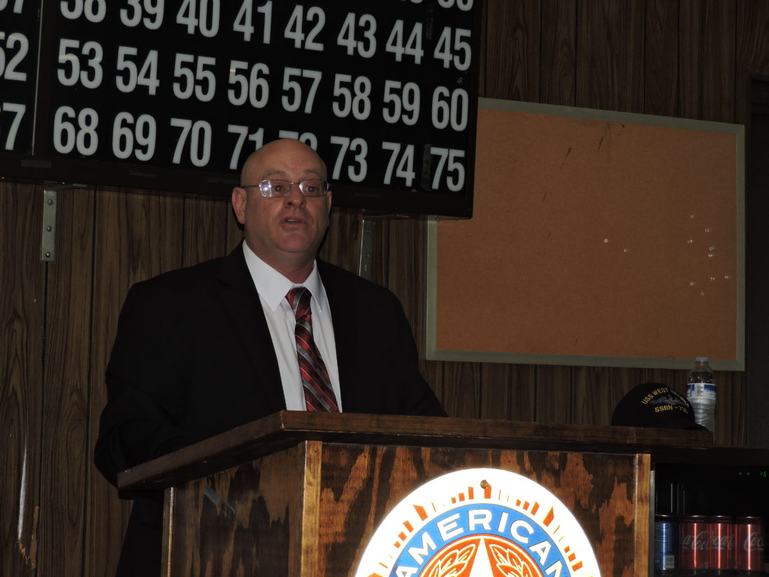 Jack Newbrough, a Weirton resident who is a Republican candidate for the U.S. Senate, held a town hall at the American Legion Post 10 Friday night, meeting with residents and discussing his platform. -- Craig Howell