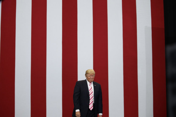CAMPAIGN RALLY — President Donald Trump arrives for a campaign rally for U.S. Senate candidate Luther Strange Friday in Huntsville, Ala.