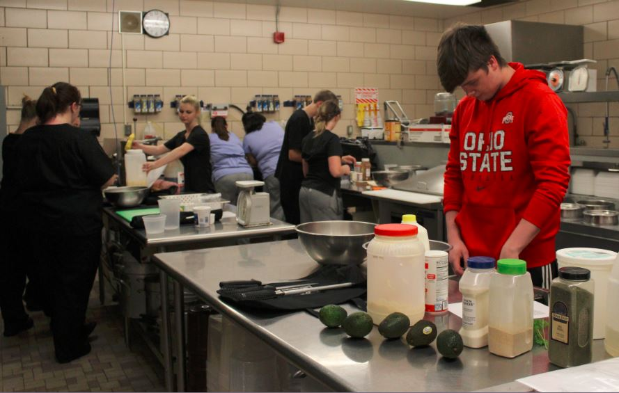 READY TO SERVE — Culinary arts students prepare meals in the Crestview Inn Restaurant at Jefferson County Joint Vocational School. The eatery opened its doors on Tuesday and operates from 10:30 a.m. to 1:30 p.m. on Tuesdays, Wednesdays and Thursdays. To make reservations, order takeout or obtain information, call (740) 264-5545, ext. 602.