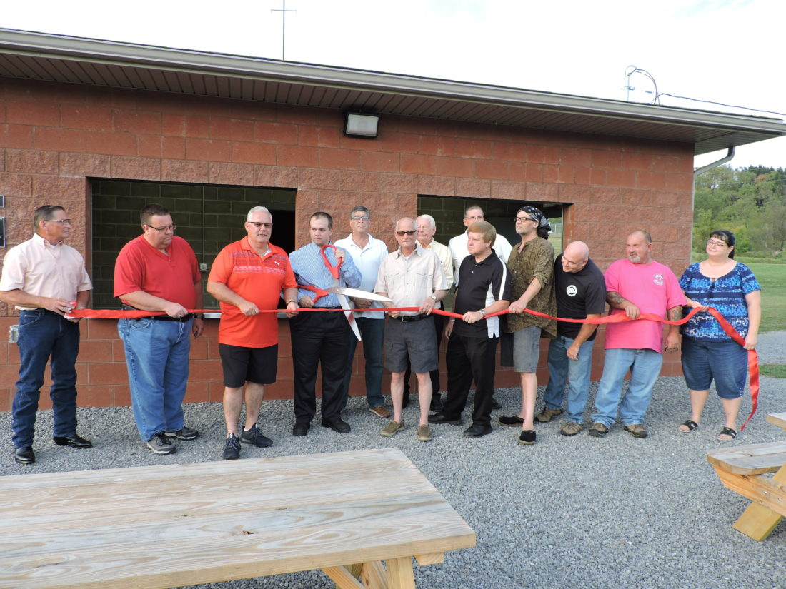 NOWOPEN — The Hancock County Parks and Recreations Board, along with county commissioners and guests, officially opened the new concession stand and restroom at the Gas Valley Sports Complex in New Manchester Friday evening. -- Craig Howell