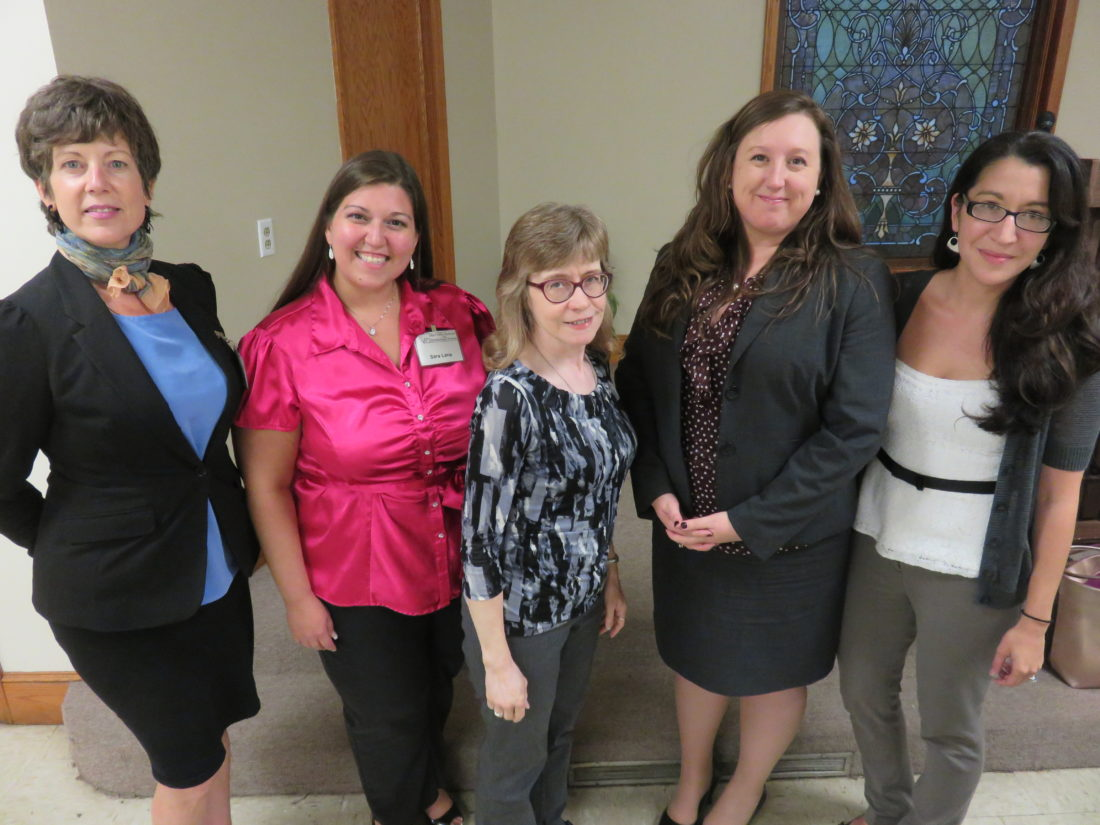 MEETINGHIGHLIGHTS — Officers of the Ohio Valley Business and Professional Women with September guest speaker Tiffany Jenca, second from right, are, from left, Marie-Helene Wilson, treasurer; Sara Lane, president; Mary Lou Jones, secretary; and Sarita Asawa, vice president.  -- Janice Kiaski