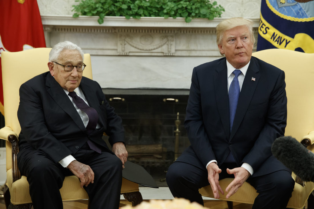 HENRY IN THE OVAL OFFICE — President Donald Trump meets with former Secretary of State Henry Kissinger in the Oval Office of the White House, Tuesday, in Washington. -- Associated Press