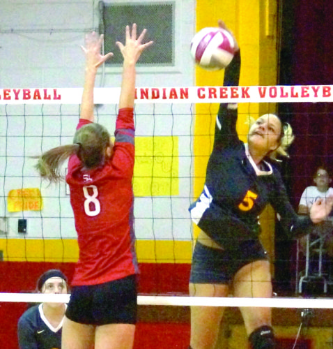 KILL SHOT — Indian Creek's Taylor Jones attempts a kill against St. Clairsville during a Division II Eastern District sectional match on Monday. (Photo by Andrew Grimm)