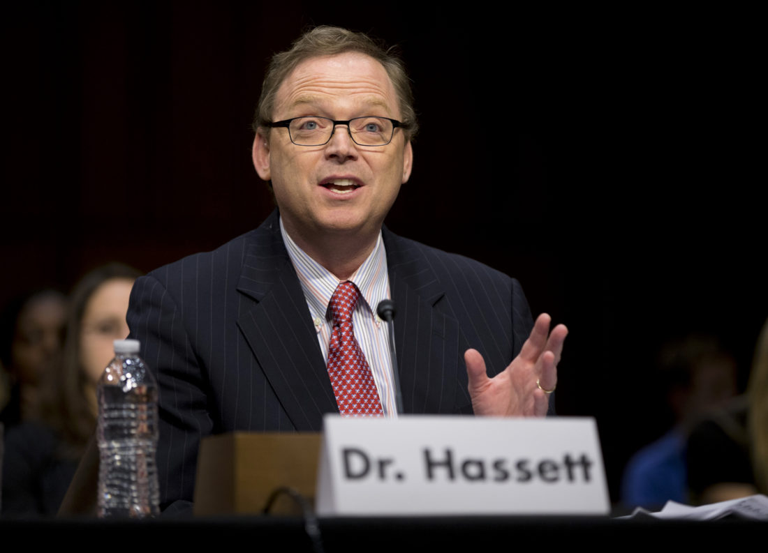 ESTIMATING HIGHER INCOME — Kevin Hassett, senior fellow and director of Economic Policy at the American Enterprise Institute, testifies in late 2012 on Capitol Hill in Washington before the Joint Economic Committee. Hassett, President Trump's chief economist, estimated Monday that the administration's plan to cut corporate tax rates will cause average household incomes to jump $4,000 a year. -- Associated Press
