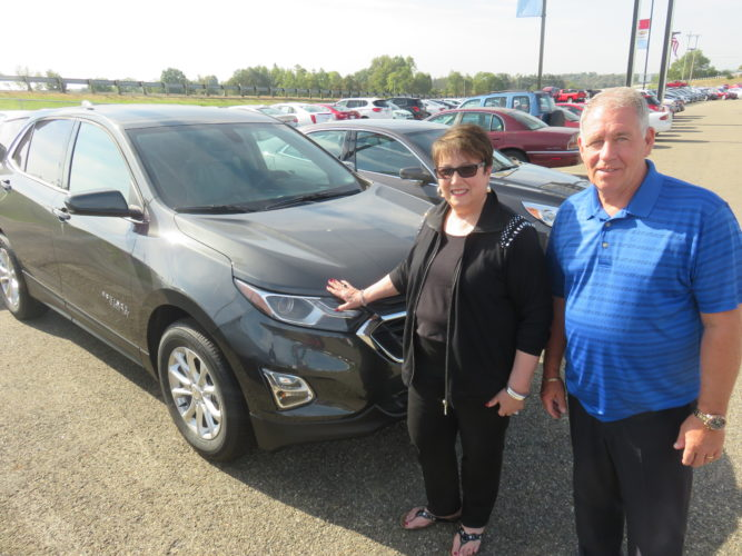 NEWWHEELS ... AGAIN — Gloria Popp of Steubenville, an executive sales director with Mary Kay Cosmetics, has been awarded her 20th car for high sales, recently receiving the keys for a 2018 Chevrolet Equinox from TEAM Chevrolet-Buick-GMC-Cadillac in Wintersville from sales consultant Scott Medley, a constant in her career success. Through the years, Medley has handed Popp the keys to more than eight new cars at different dealership providers. -- Janice Kiaski