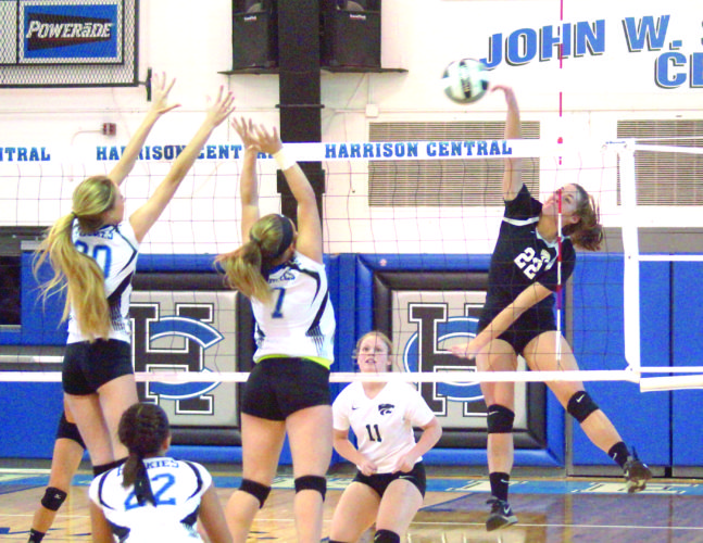 UPSET ALERT — Edison's Allison Crawford attempts a kill during a Division III sectional contest against Harrison Central on Tuesday. (Photo by Andrew Grimm)