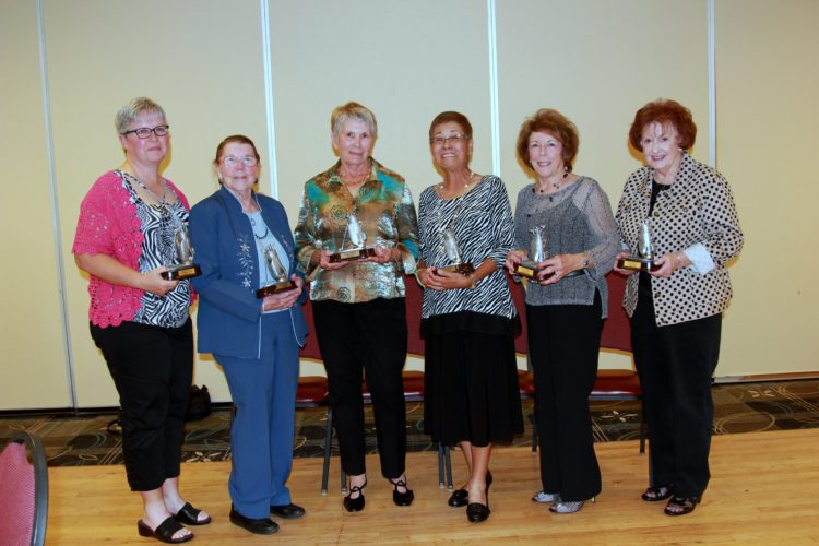 Low gross winners for the club championship were, from left, Laura Froehlich, A Flight; Edie Higgins, B Flight; and Sondra Hyde, C Flight; and low gross winners were Lucy Karaan, A Flight; Rose Kaczmarek, B Flight; and Margie Serafini, C Flight.  -- Contributed