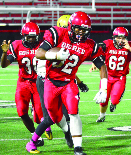 Steubenville's Jo Jo Brown rushes against Cardinal O'Hara Friday. (Photo by Michael D. McElwain)