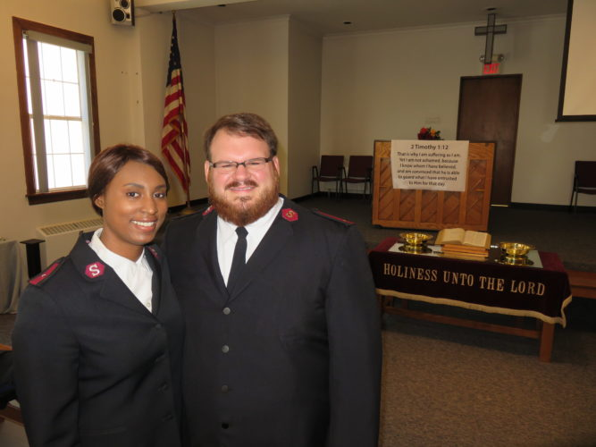 BEGINNING A JOURNEY — Lts. Erik Muhs and Barri Vazquez-Muhs are getting settled as newlyweds and as the corps officers and pastors of the Salvation Army of Steubenville. Holiday season preparation will get under way this week as applications for Christmas assistance will be taken Wednesday and Thursday and Nov. 1 and 2. -- Janice Kiaski