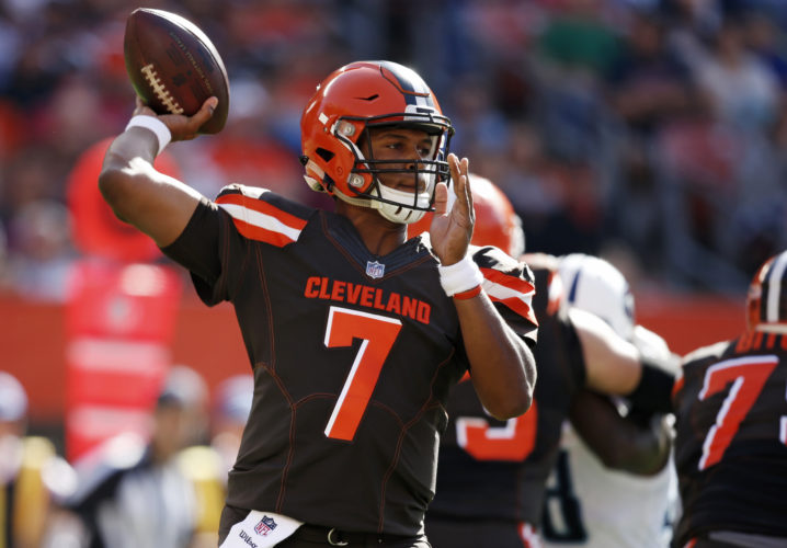 LOOKING FOR ANSWERS — Browns' quarterback DeShone Kizer passes against Tennessee during the first half of Sunday's game. -- Associated Press