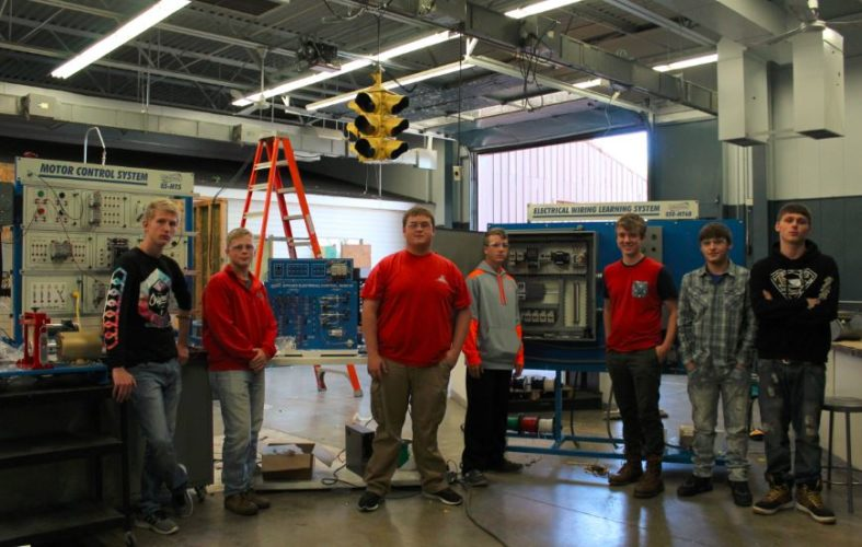 NEW EQUIPMENT — Seniors in the electrical program at Jefferson County Joint Vocational School who are gaining experience on the motor control learning system the class has acquired are, from left, Joey Wood, George Lollathin, Mark Kovalski, Sage Treglia, Dustyn Hennen and Andrew Snape.