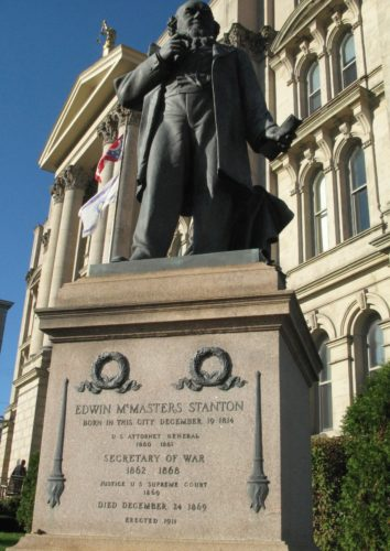 """TRIBUTETONATIVESON — The statue of Edwin McMasters Stanton, who served as Abraham Lincolnn's secretary of war, is located near the Jefferson County Courthouse in downtown Steubenville and is a tribute to Steubenville's native son. Author Walter Stahr will discuss his new biography, """"Stanton: Lincoln's War Secretary,"""" during local visits this week, including at 6 p.m. Wednesday at the Schiappa branch of the Public Library of Steubenville and Jefferson County and at noon Thursday at the Ohio County Library in Wheeling. -- Mark Law"""