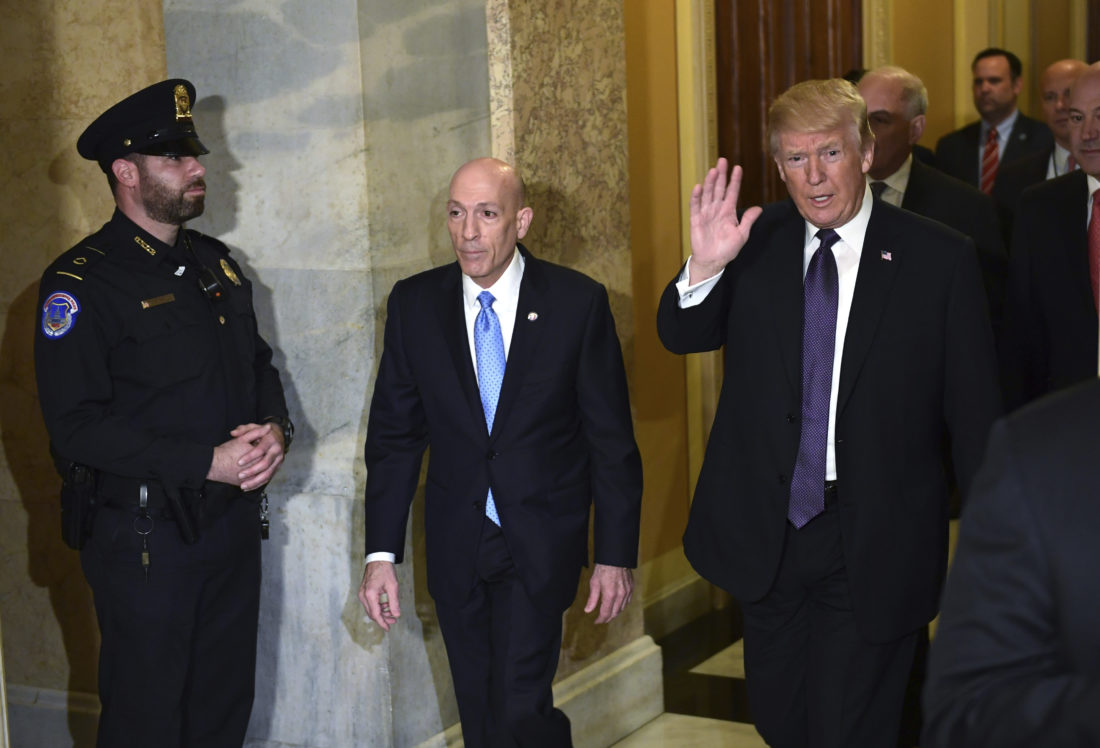 HOUSE CALL — President Donald Trump arrives on Capitol Hill in Washington Thursday. Trump arrived at the Capitol for a pep rally with House Republicans, shortly before the chamber approved the tax bill over solid Democratic opposition. -- Associated Press