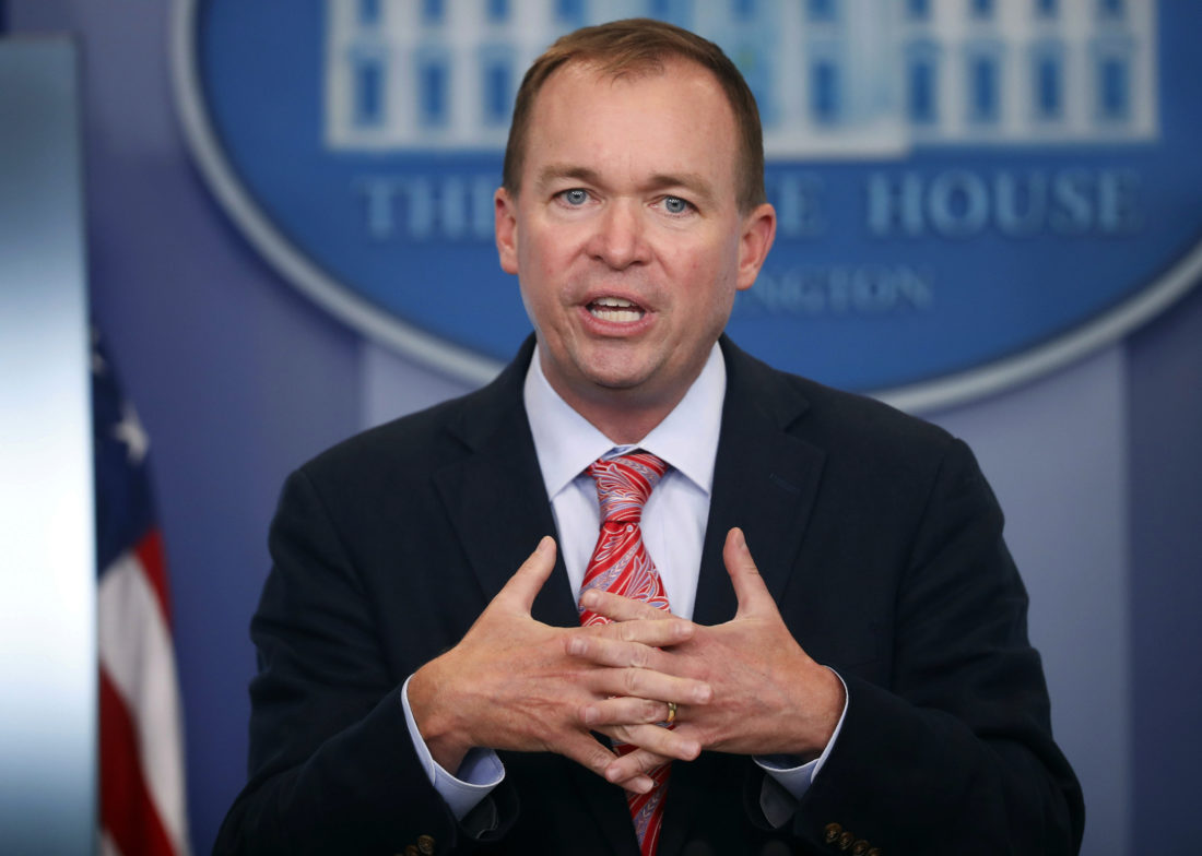 TAX TIME —  Budget Director Mick Mulvaney gestures as he speaks during a daily press briefing at the White House. Mulvaney and Treasury Secretary Steven Mnuchin sent mixed signals Sunday, on the fate of a health care provision in the Senate version of a $1.5 trillion measure to overhaul business and personal income taxes that is expected to be voted on after Thanksgiving. -- Associated Press
