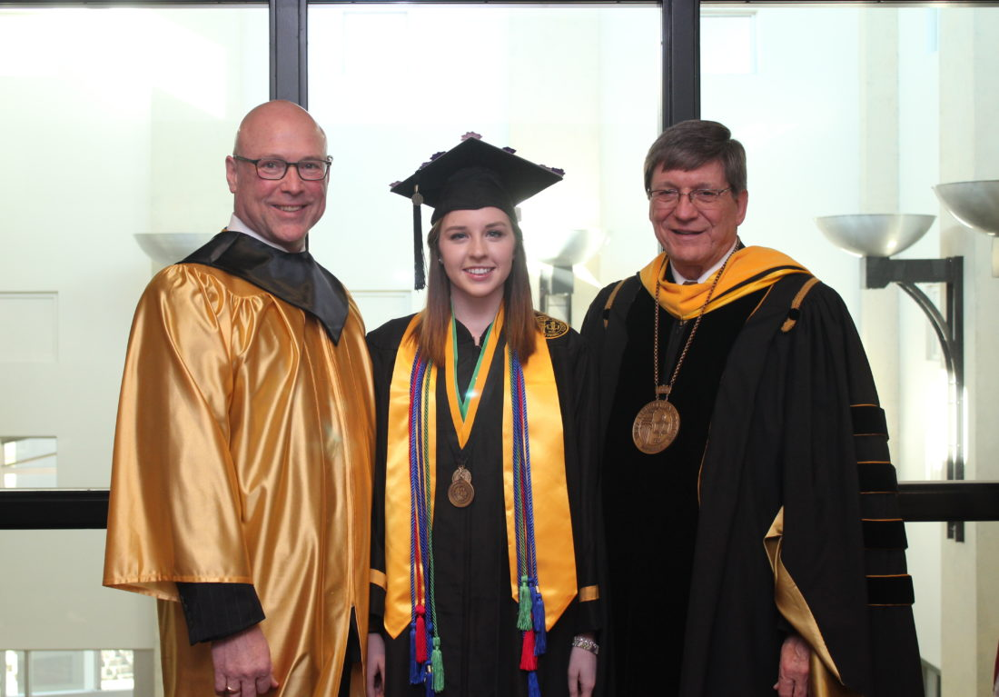 GRADUATION SPEAKERES — Among those addressing graduates during Saturday's fall commencement at West Liberty University were, from left, Patrick Ford, executive director of the Business Development Corp. of the Northern Panhandle; Maria Ganoe, the graduating student speaker; and WLU President Stephen Greiner. -- Contributed